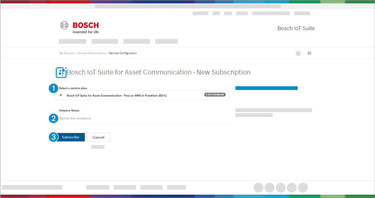 Bosch IoT Suite for Asset Communication - New Subscription