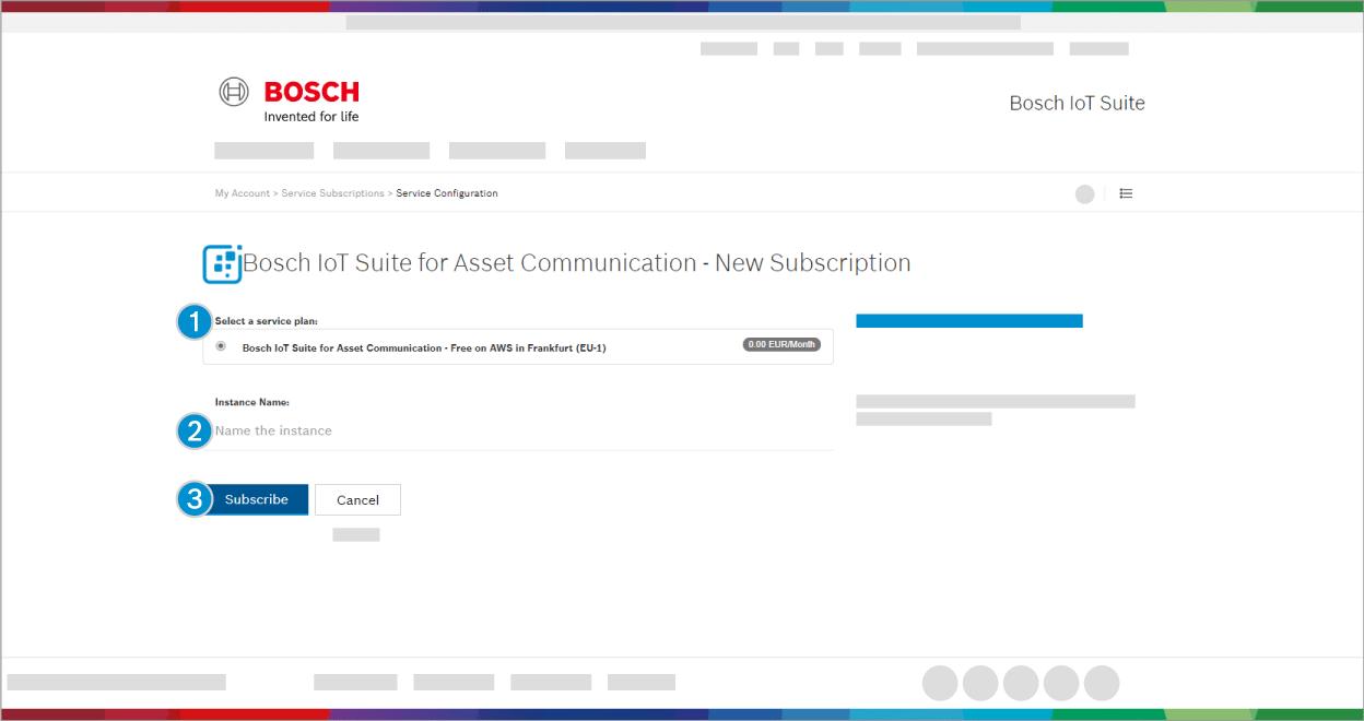 Bosch IoT Suite for Asset Communication - New Subscription