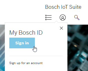 Screenshot showing how to sign into your Bosch account.