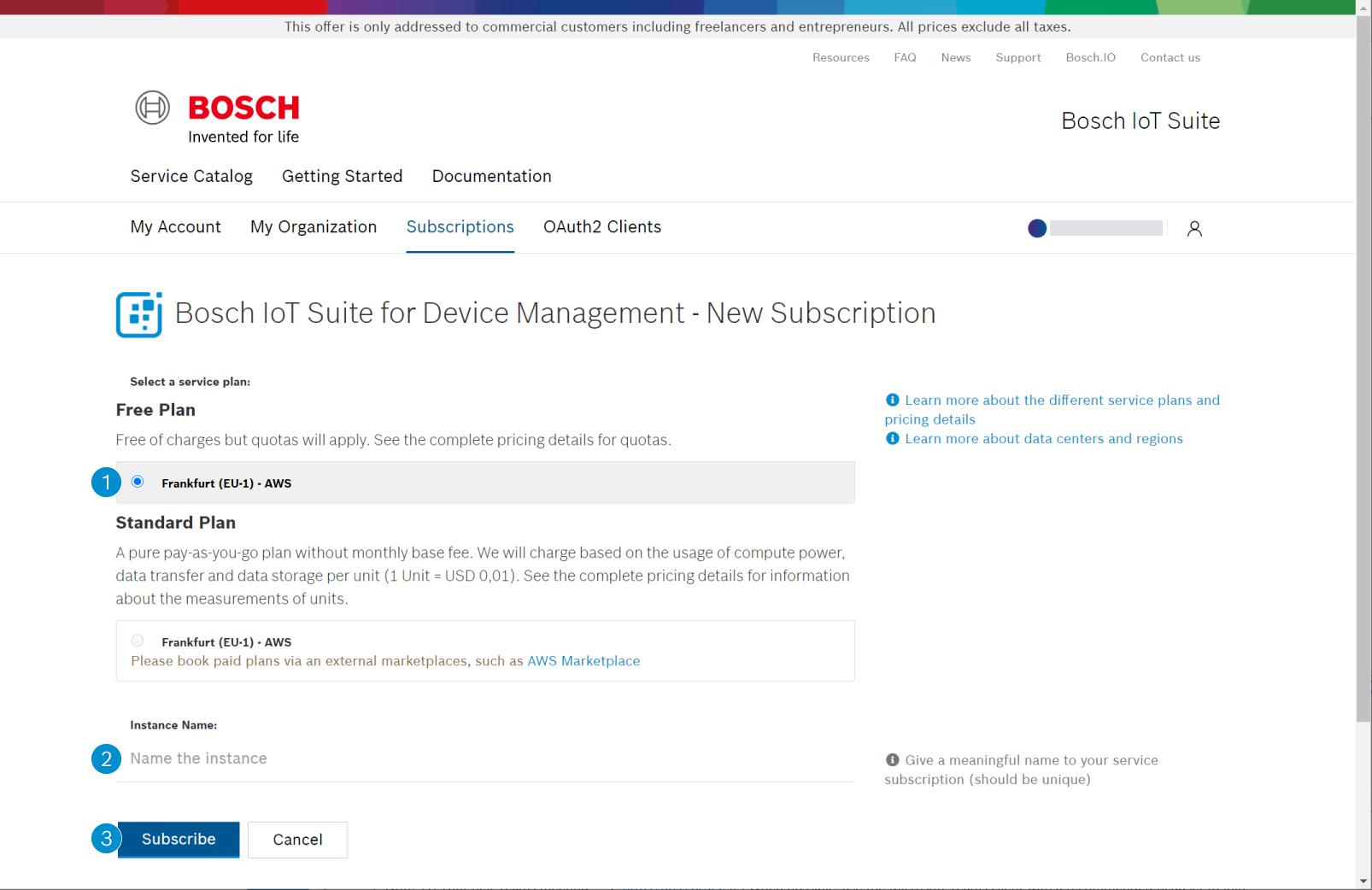 Configure your subscription