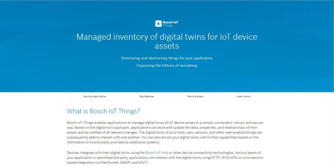 Screenshot of the Bosch IoT Suite service catalog.