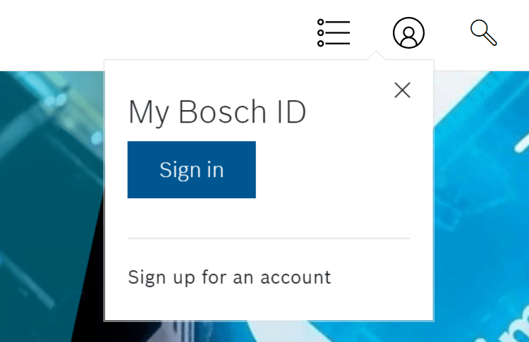 Sign in with My Bosch ID