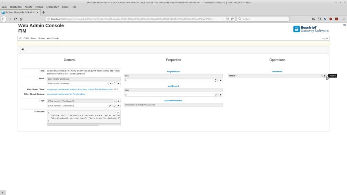 Screenshot showing the bulk transfer of the Transport Data Logger.