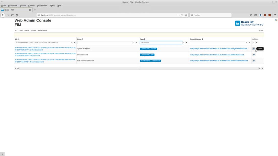 Screenshot of the Transport Data Logger configuration dashboard.