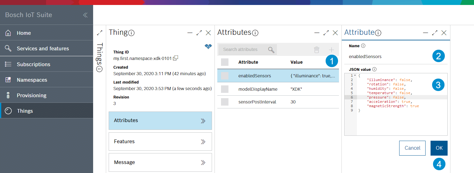 Example - setting the attributes.